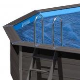 Coberta para piscina oval de madeira composta 664x386x124 cm