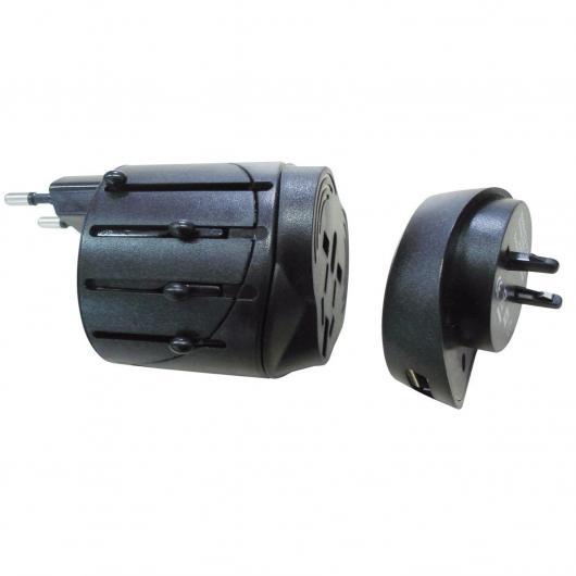 Adaptateur de voyage avec USB noir