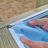 Liner azul com sistema de suspensão piscina oval 436x336x119 cm Gre