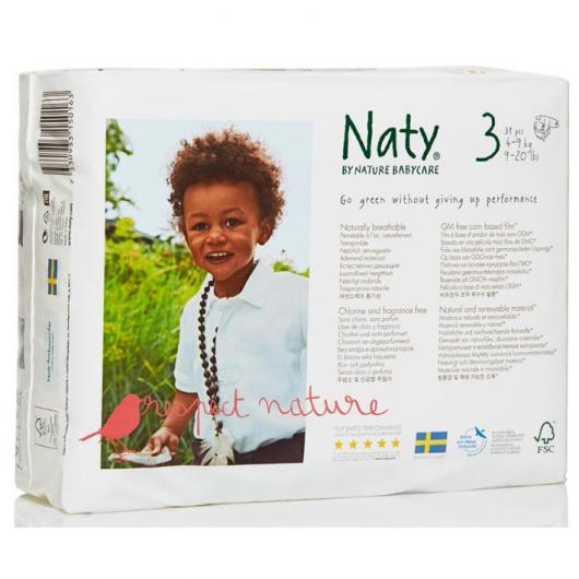 Couches n°3 Naty 4-9 kg, 31 pièces