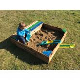 Caixa de areia infantil retangular gaveta e banco