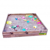 Caixa de areia infantil retangular com capa de lona
