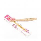 Escova de dentes de bambu rosa para crianças, Nordics Oral Care