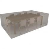Rivestimento rettangolare beige copri tavolo e 8 sedie