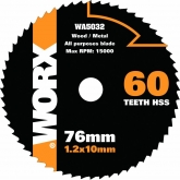 Disco multiuso Worx di  Ø 76 mm e 60 denti