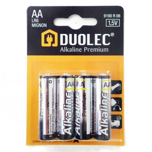 Pile super alcaline AA LR06 4 pièces Duolec