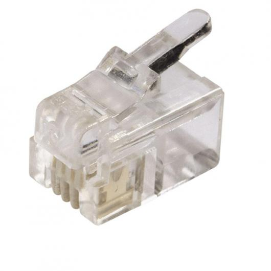 Connexion jack modulaire de 6 mm et 4 voies pour téléphone 3 unités Axil