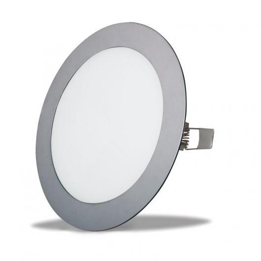 Applique encastrée LED Oporto ronde extra plate 18 W chrome mat Duolec