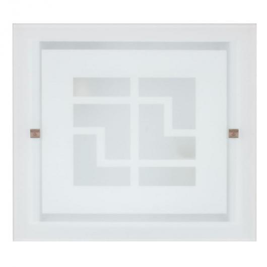 Plafón cuadrado con cristal plano 30x30 cm E27 Duolec