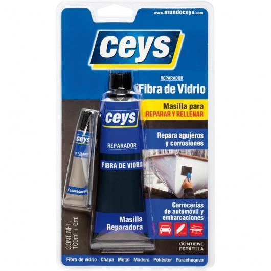 Masilla reparadora de fibra de vidrio 100 ml+6ml Ceys